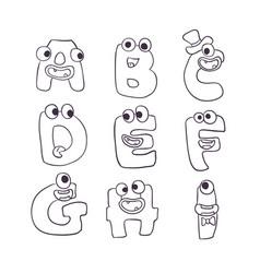cute monsters doodle alphabet abc vector image
