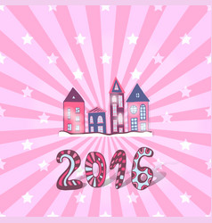 Cute new year background doodle sweet houses vector
