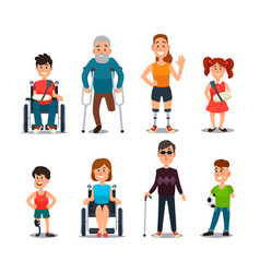 Disability people cartoon sick and disabled vector