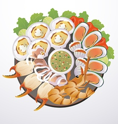 dish of seafood vector image