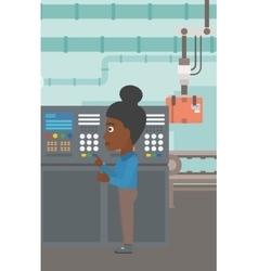 Engineer standing near control panel vector