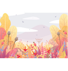 floral border and autumn landscape vector image