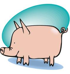 Funny big pig vector