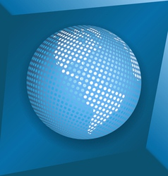 globe on blue background vector image
