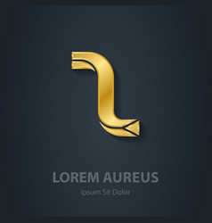 Gold Letter Z elegant font Template for golden vector image