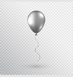Gray realistic balloon isolated on transparent vector