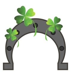 Green Clover Leaves and Horseshoe vector image