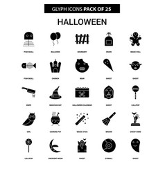 Halloween glyph icon set vector