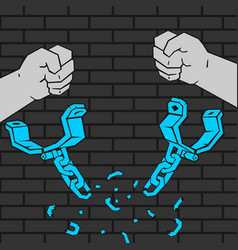 Hands breaking handcuffs vector