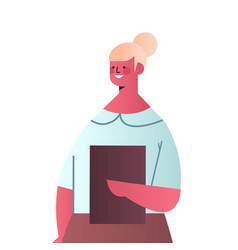 Happy businesswoman holding folder attractive vector