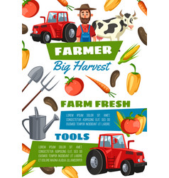 happy farmer equipment vegetables and tractor vector image