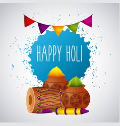 happy holi festival color celebration card vector image
