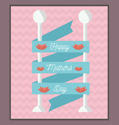 Happy mothers day ribbon decorative flowers vector
