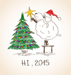 Happy New Year sheep 2015 vector