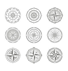 icon set with compass rose for your design vector image