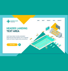indoors swimming pool landing web page template vector image