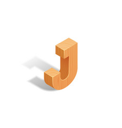 isometric wooden letter a with shadow vector image