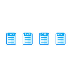 Java php css html code icons on white vector