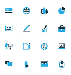 job colorful icons set collection of presentation vector image