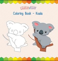 Koala coloring book educational game vector