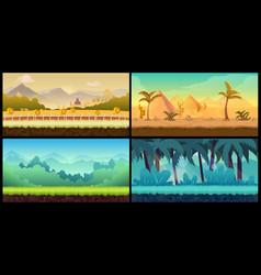 landscape cartoon seamless backgrounds set vector image vector image
