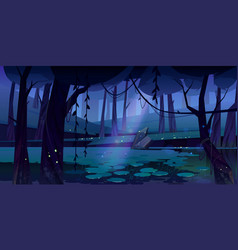landscape with swamp in night forest vector image