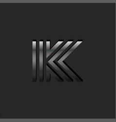 letter k logo monogram metallic material gradient vector image