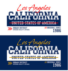 los angeles california t-shirt and apparel vector image