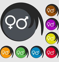 male and female icon sign Symbol on eight colored vector image