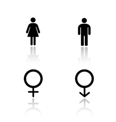 Man and woman silhouettes drop shadow icons set vector