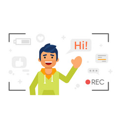 Man that records video blog vlog concept vector
