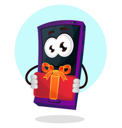 mobile emoji with a present on white background vector image