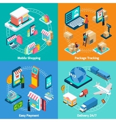 Mobile Shopping Isometric 2x2 Icons Set vector image
