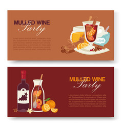 mulled wine winter drink banners alcohol vector image