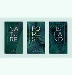 natural foliage instagram stories template vector image