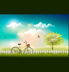 Nature meadow landscape with a bicycle vector