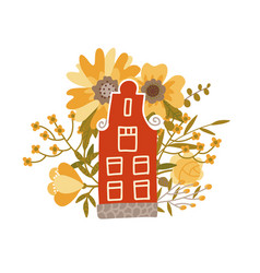 netherlands traditional small house on the vector image