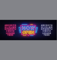 now open neon signs now open design vector image