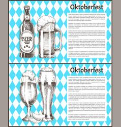 oktoberfest posters beer set vector image