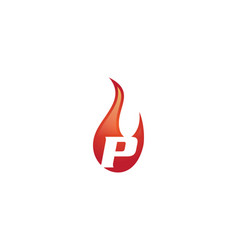 p letter flame logo vector image