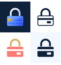 padlock with credit card stock icon set vector image