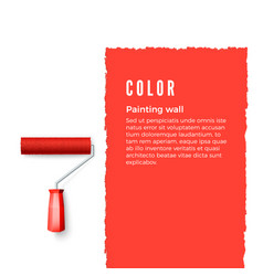 paint roller with red paint and space for text or vector image