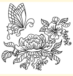 Peony and butterfly BW vector image