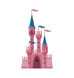 Pink medieval fairytale castle fortress with vector