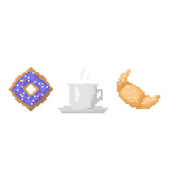 Pixel art fast drink cup and croissant vector