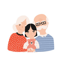 Portrait of grandfather grandmother vector