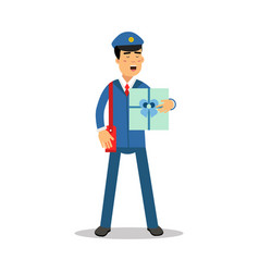 Postman in blue uniform with red bag holding gift vector