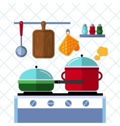 Pots and pans on a stove Kitchen cooking flat vector image vector image
