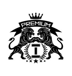 premium sign with lions and crown vector image
