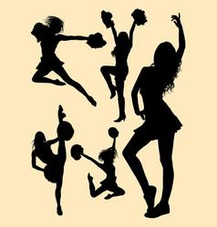 Pretty dancer cheerleader silhouette vector
